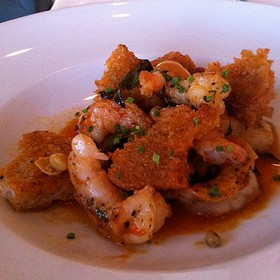 Florida Gulf Shrimp: Spanish Style With Croutons, Fava Beans, And Broth - Fish out of Water, Santa Rosa Beach, FL