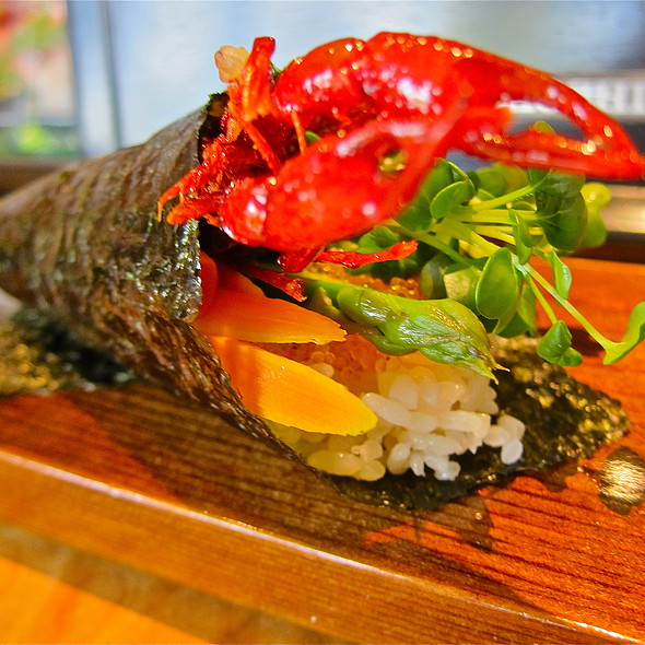 <Seasonal> Softshell Crawfish Bespoke Hand Roll/ flash fried softshell crawfish/ daikon sprouts/ natural tobiko/ asparagus/ gobo/ lime - Sushi Ran, Sausalito, CA