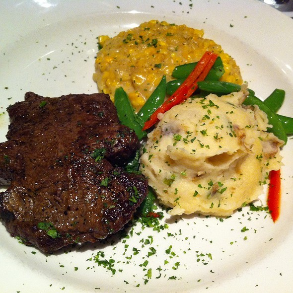 Filet Mignon And Creamed Corn And Mashed Potatoes - III Forks - Houston, Houston, TX
